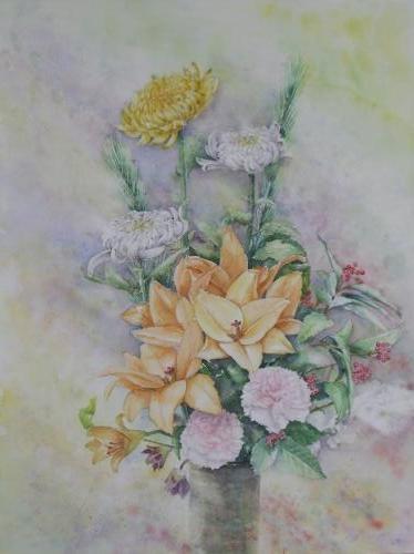 ユリと菊の生け花