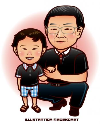 子供の男の子と男性の似顔絵イラスト