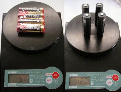 単三電池とエネループプロの重量比較