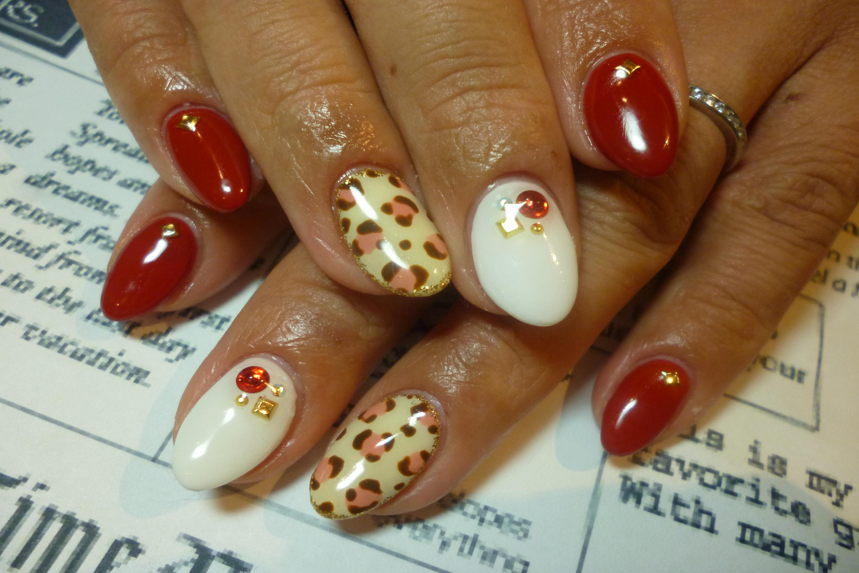 2014ネイルデザイン 紅白カラーネイル!ひょう柄アートネイル