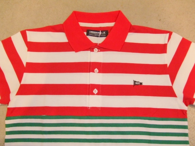MDY BORDER STRIPE POLO SHIRTS RED FT1