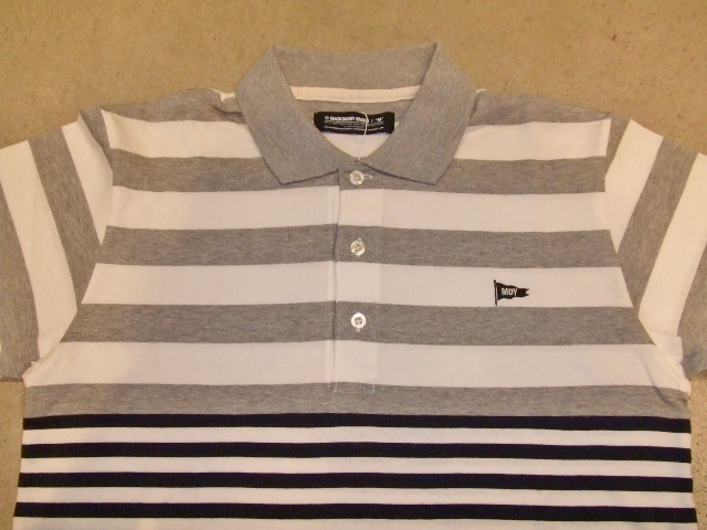 MDY BORDER STRIPE POLO SHIRTS GRAY FT1