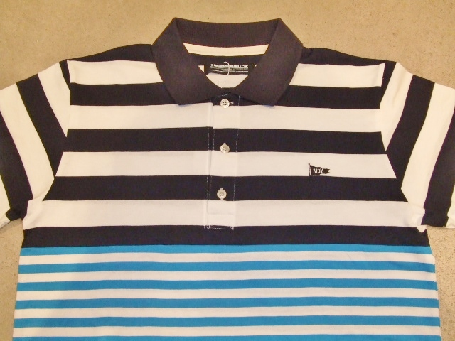 MDY BORDER STRIPE POLO SHIRTS NAVY FT1