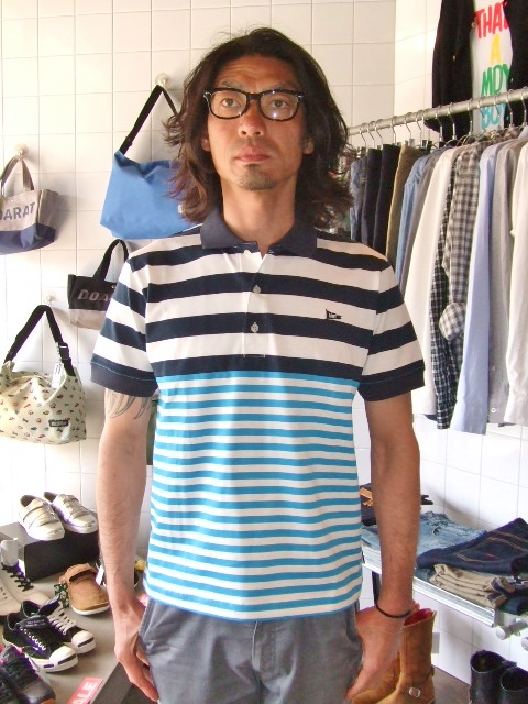 MDY BORDER STRIPE POLO SHIRTS ST3