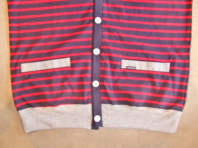 MDY BORDER STRIPE CARDIGAN RED FT2