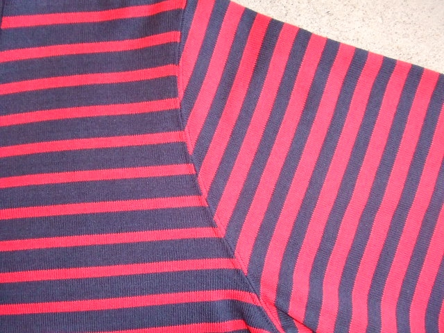 MDY BORDER STRIPE CARDIGAN RED FT3
