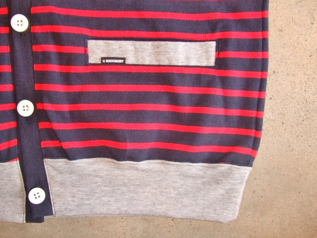 MDY BORDER STRIPE CARDIGAN RED FT4