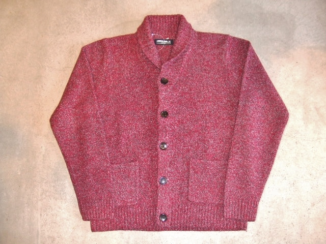 MDY SHAWL COLLAR WOOL KNIT SWEATER RED FT1