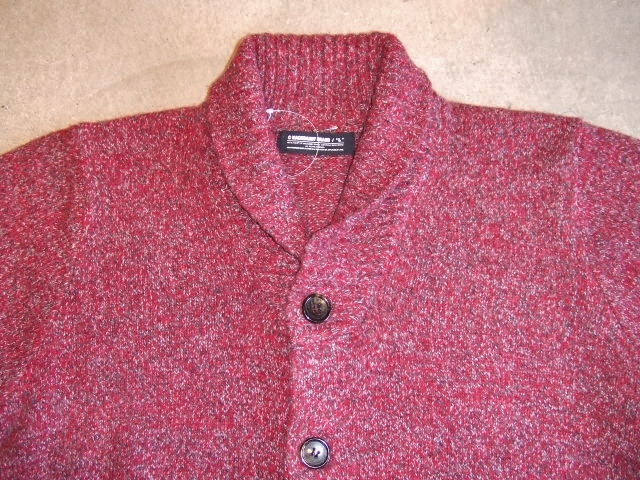 MDY SHAWL COLLAR WOOL KNIT SWEATER RED FT2