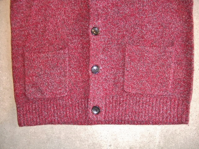 MDY SHAWL COLLAR WOOL KNIT SWEATER RED FT3