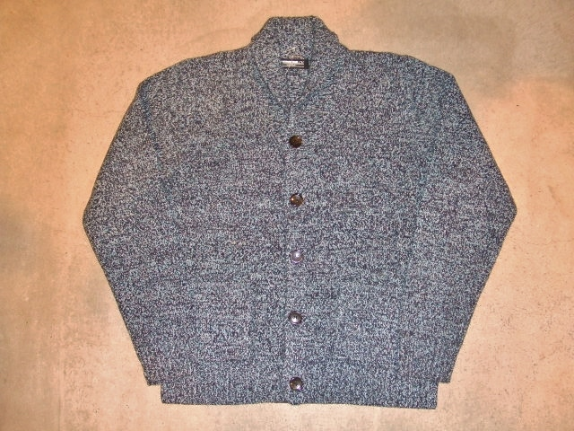 MDY SHAWL COLLAR WOOL KNIT SWEATER BLUE FT1