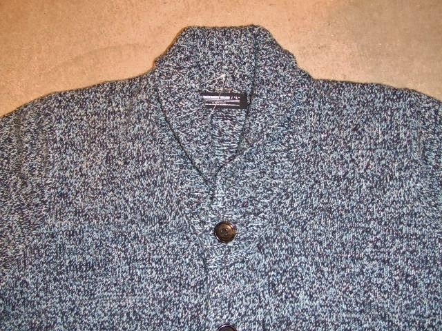 MDY SHAWL COLLAR WOOL KNIT SWEATER BLUE FT2