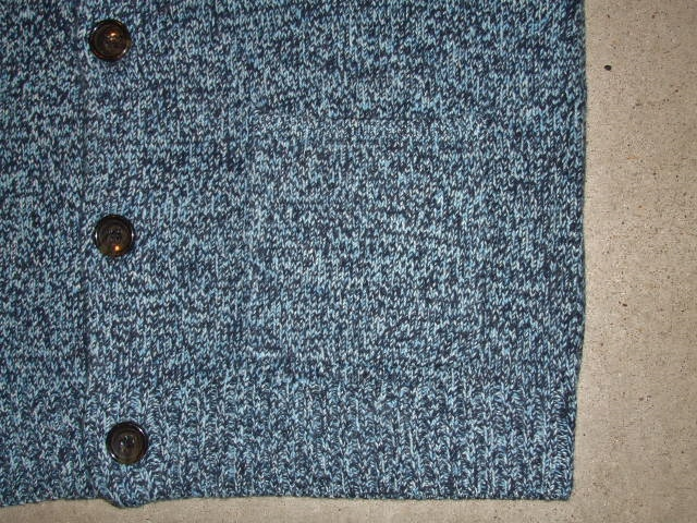 MDY SHAWL COLLAR WOOL KNIT SWEATER BLUE FT5