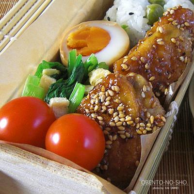 手羽先の黒酢胡麻焼き弁当02