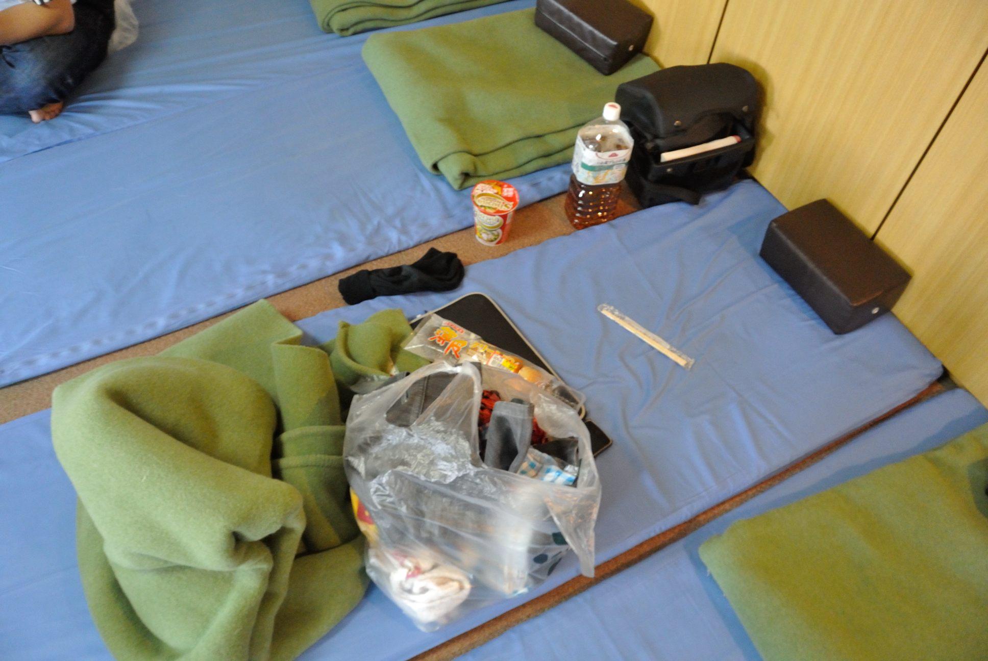 沖縄行きフェリーの寝床