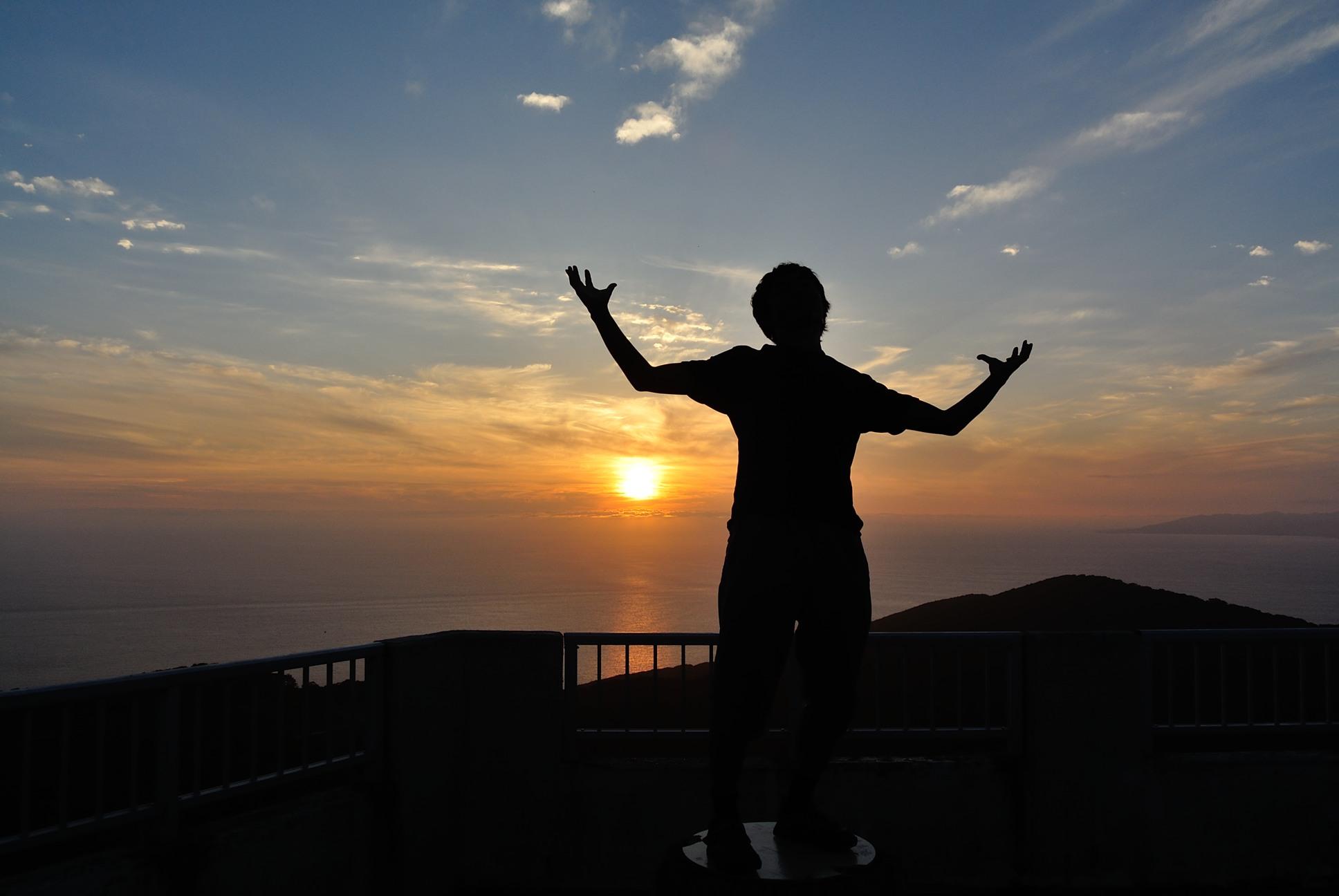 津軽海峡近くの眺望台での記念撮影