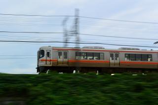 山田下橋りょうを渡る313系