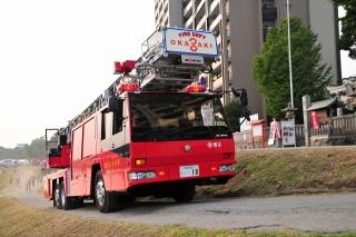 東消防署 南分署 南はしご車 はしご付消防ポンプ自動車(40m) 日野KL-PR4FPHF 艤装:モリタポンプ