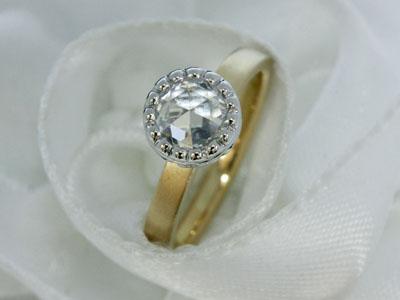 ローズカットダイヤモンドエンゲージリング(婚約指輪)