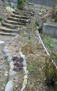 石階段補修後・・少し遠目から