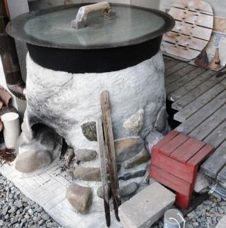 露天風呂の排水パイプ
