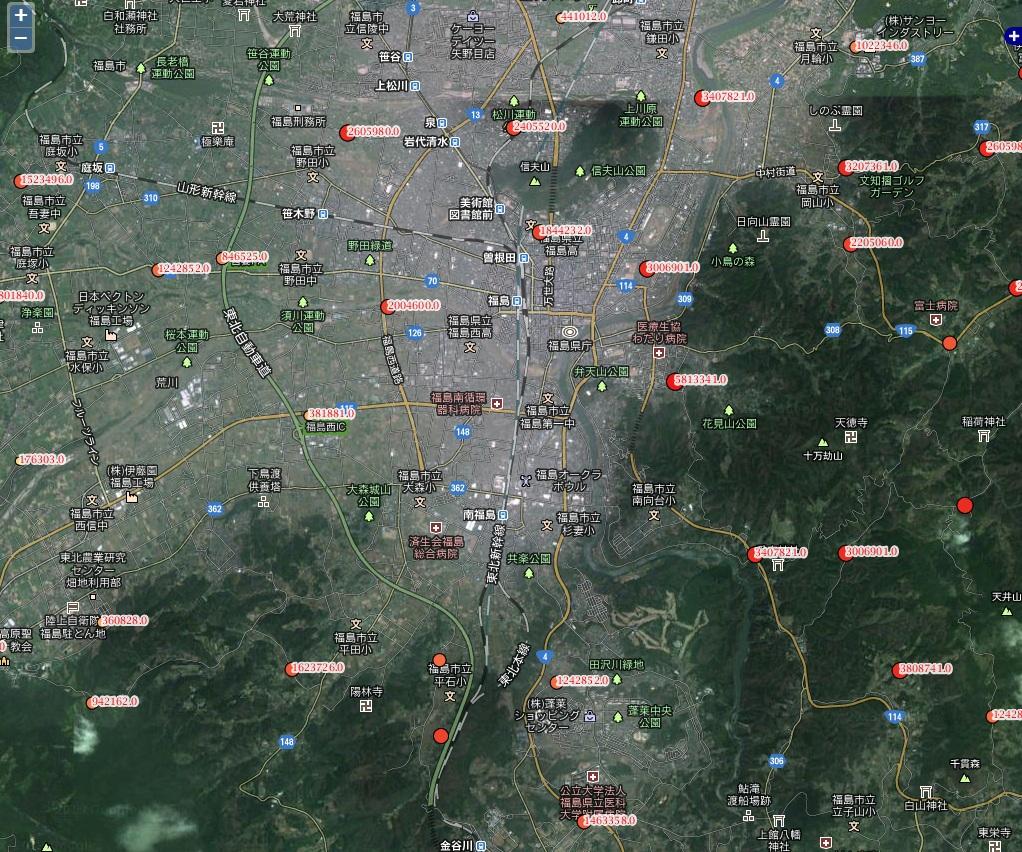 福島市ヨウ素汚染地図