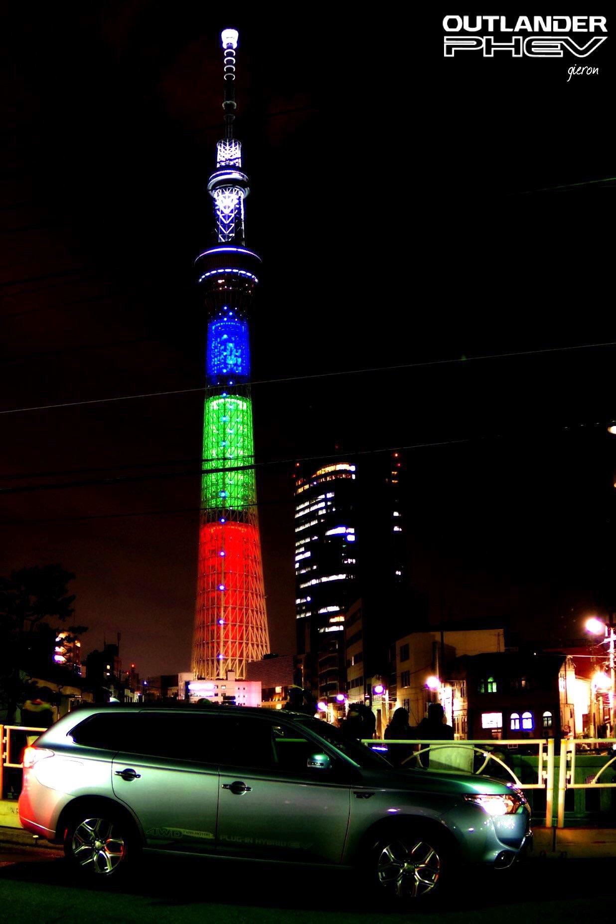 アウトランダーPHEV 東京スカイツリー