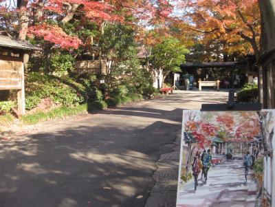 小石川後楽園でスケッチ