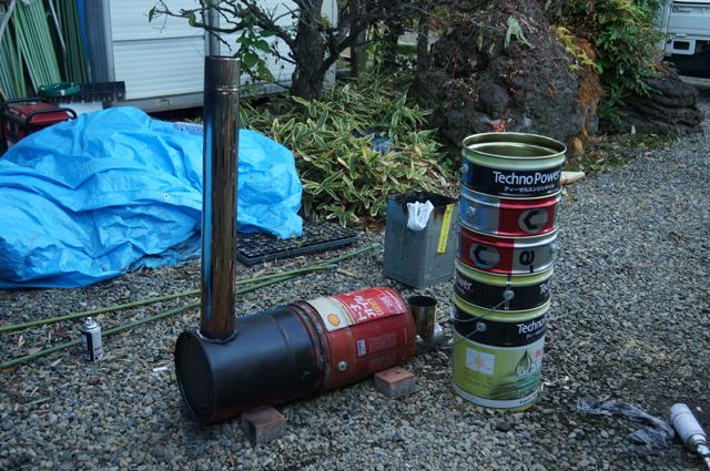 汽車焼芋 一号機と二号機になるペール缶