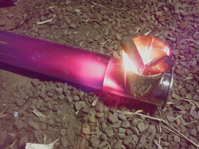 変形ロケットストーブの焚口