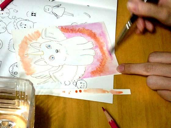 水彩色鉛筆で塗る