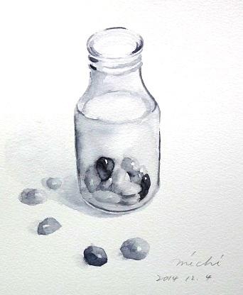 石ころと瓶