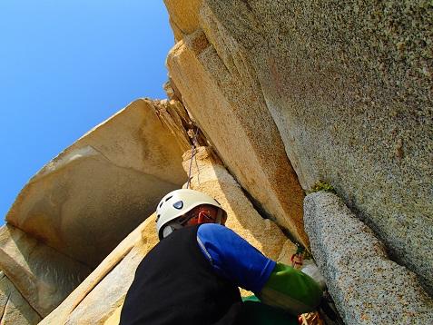 3ピッチ目はユマーリングで登る