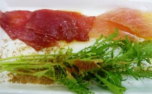 ハイタイドカフェ:野菜;水菜、まぐろ
