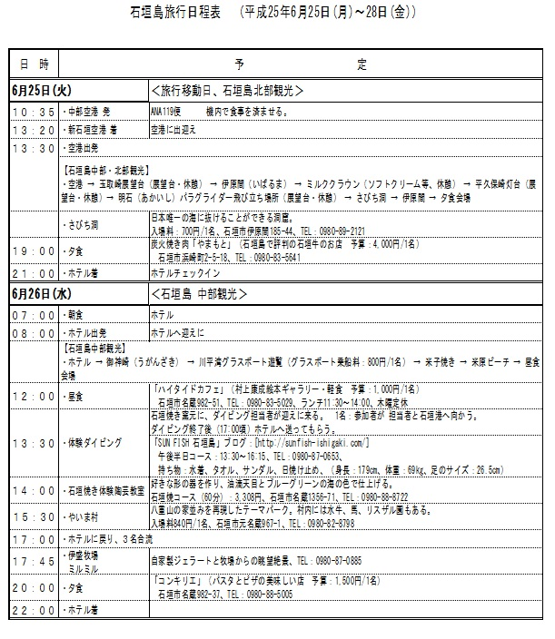 石垣島旅行日程表1