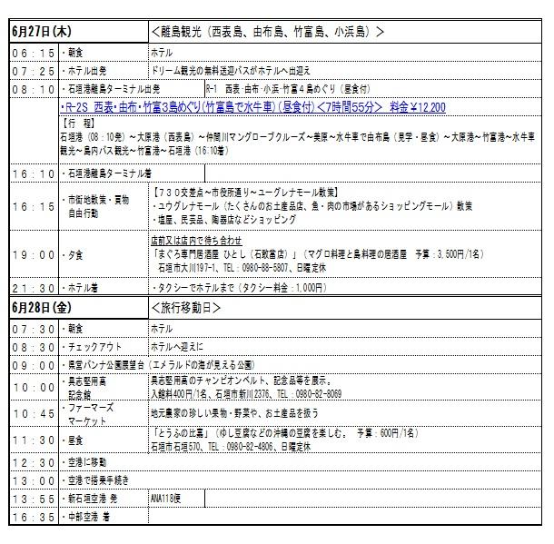 石垣島旅行日程表2