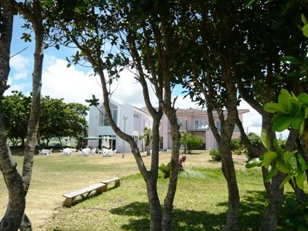 ビーチテラス:芝生から建物を眺める