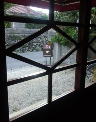 シロクマ:店内から外を眺める