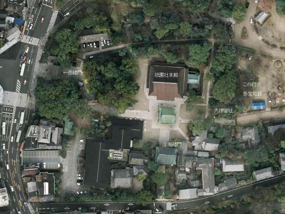 空から見た八坂神社