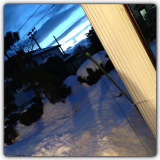 夕暮れ雪景色