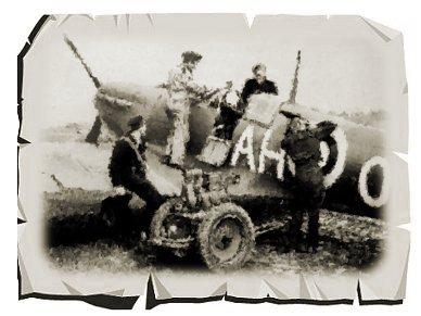Spitfire I 給油と談笑セピア紙