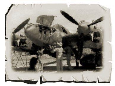 南の島の炎天下整備中のP38 Lightning Jセピア紙