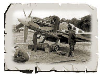 フランスの地 91st Nigeri aSq のSpitfire XIVセピア紙