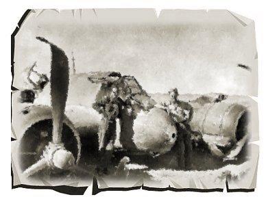 砂漠に不時着したBeaufighter IC の前で記念写真を撮るクルーセピア紙