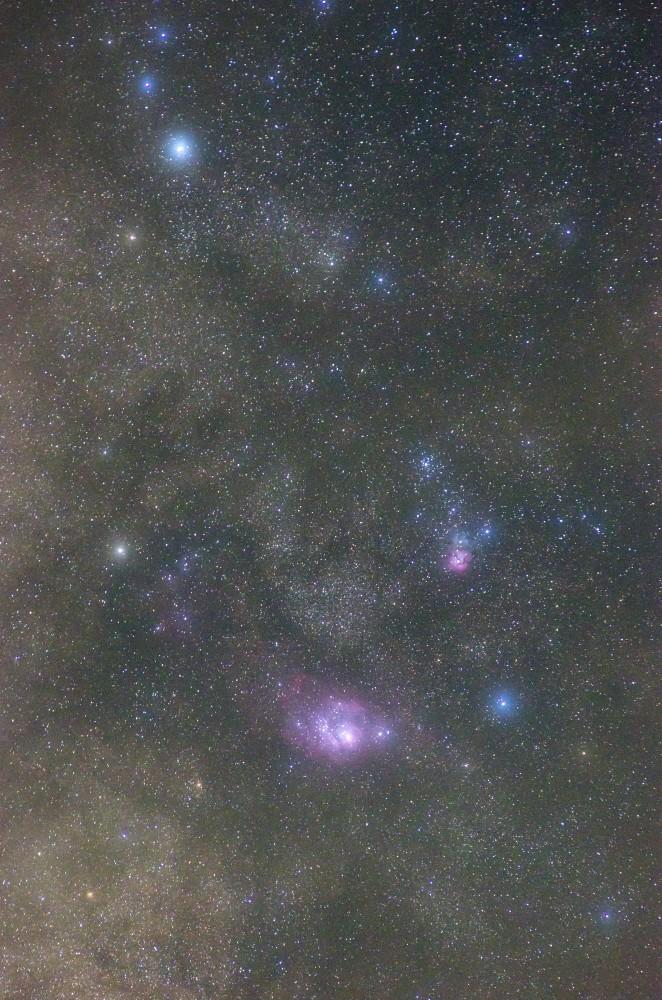 三裂星雲(M20)と干潟星雲(M8)