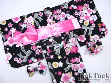 オビツ50(S・M・L胸) 黒地桜リボン 浴衣4点set