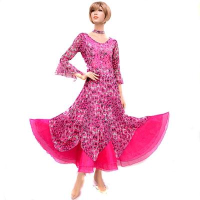 総メッシュ豹柄胸元モチーフアレンジワンピースドレス