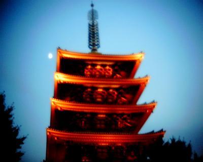 月と浅草寺の五重塔:Entry