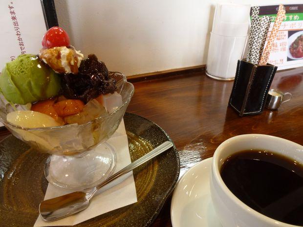 抹茶クリームあんみつ(¥450)+ロッシーブレンド(¥420)