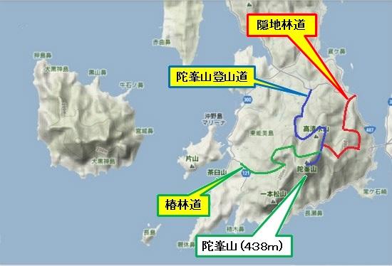 5)大柿町南部 隠地林道・椿林道・陀峯登山道